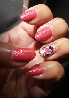 Coral Stamped Nails